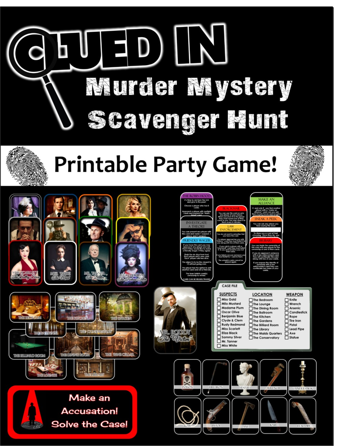 graphic relating to Clue Cards Printable called Clued-Inside Murder Secret Scavenger Hunt - Printable Get together