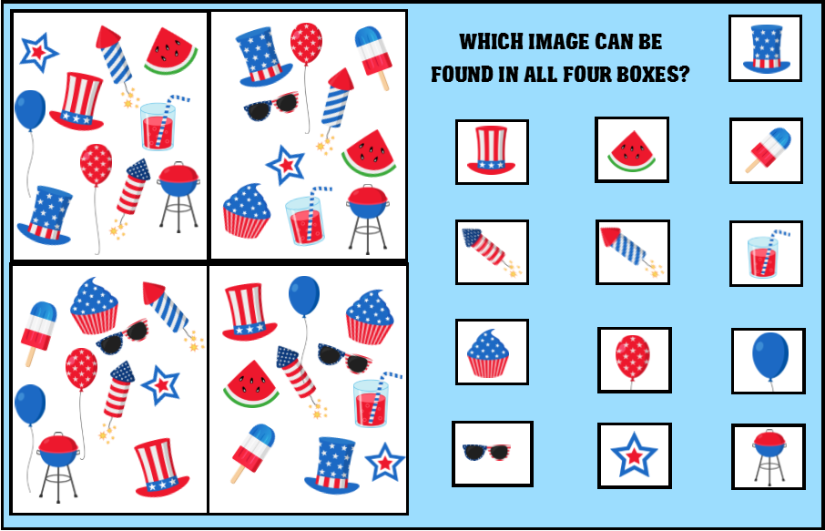 image about 4th of July Trivia Printable identified as Printable 4th of July Treasure Hunt Match