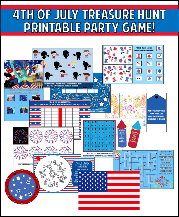 graphic about 4th of July Trivia Printable named Printable 4th of July Treasure Hunt Video game