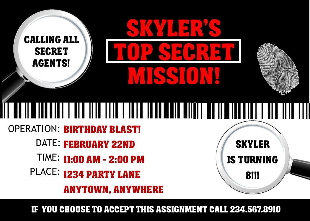 Decisive image intended for spy party invitations printable free