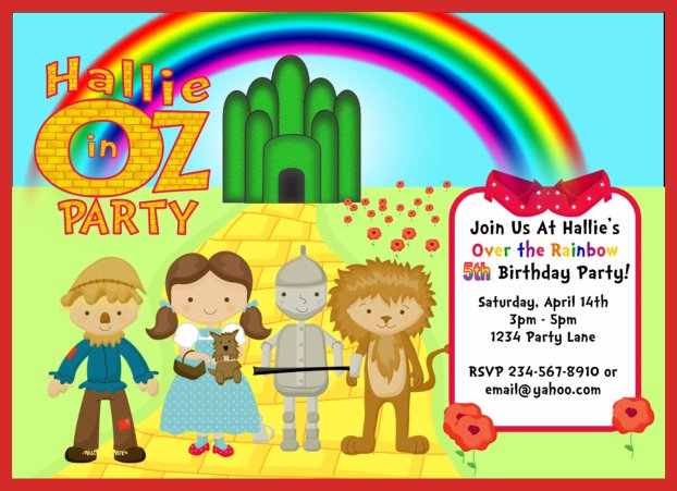 personalized wizard of oz party invitations