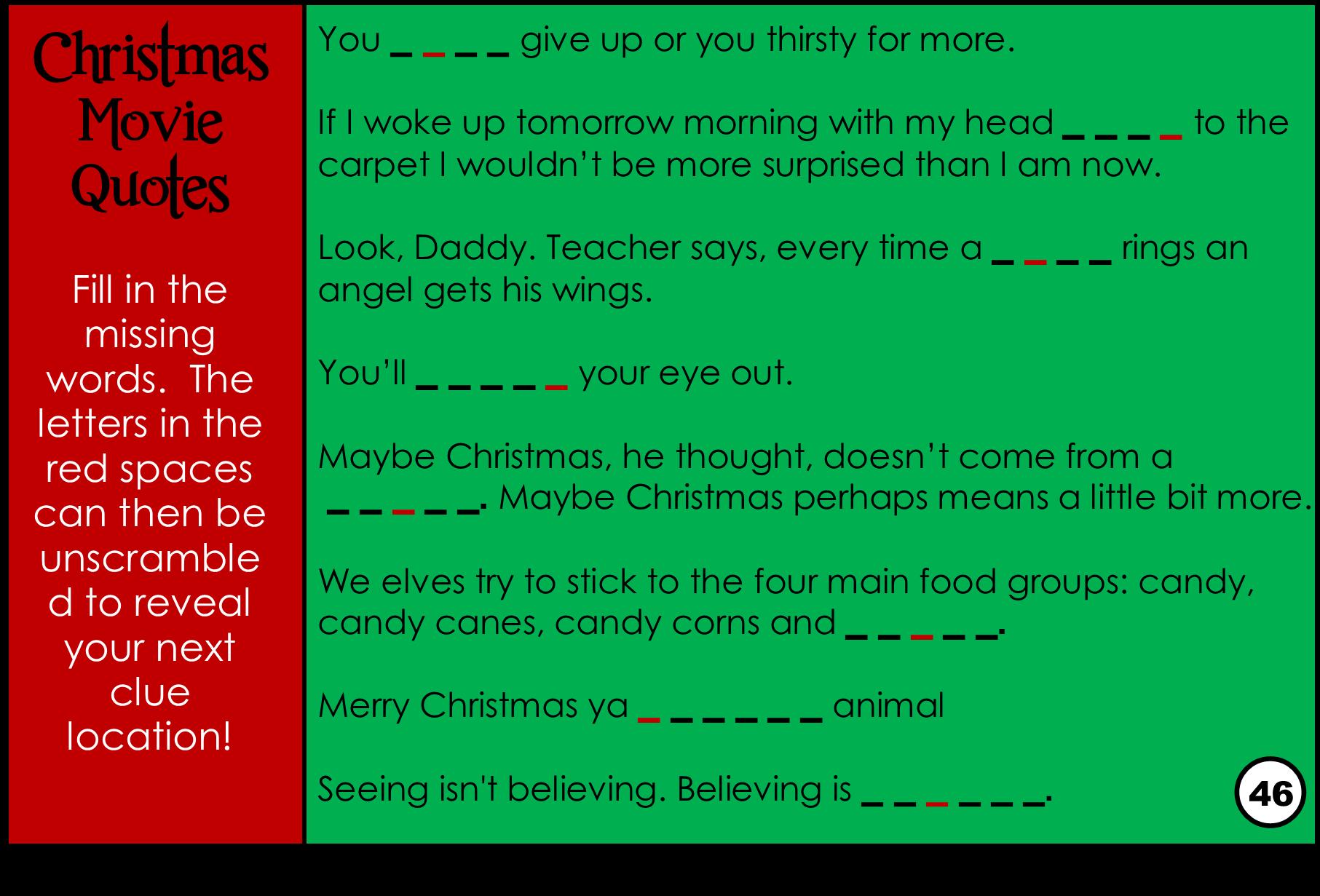 Free Christmas Printables With Favorite Movie Quotes: Printable Christmas Movie Trivia Game Treasure Hunt