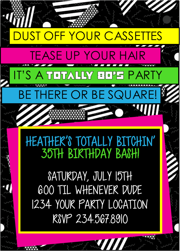 Totally Awesome 80s theme party ideas and 80s party ideas for games – 80s Theme Party Invitations