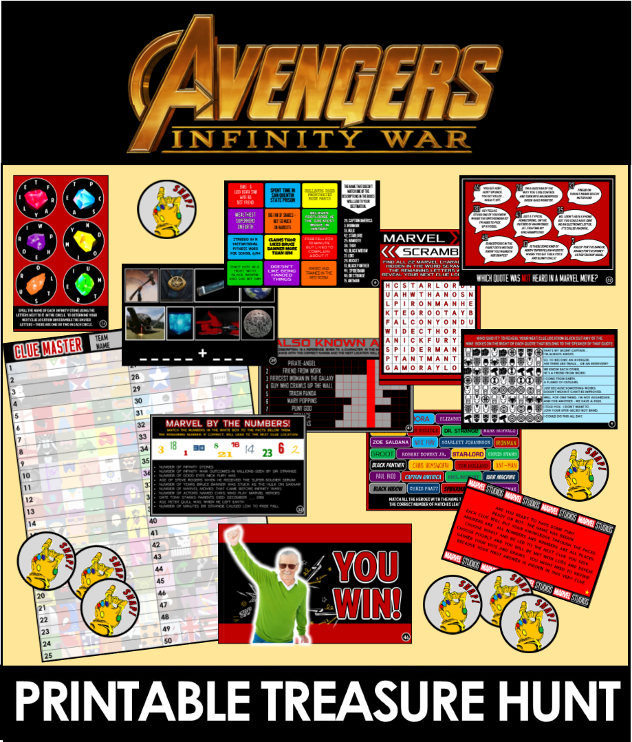 Top 10 Avengers Infinity War Party Games and Ideas