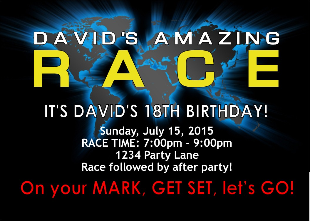 Amazing race party invitation party invitations ideas