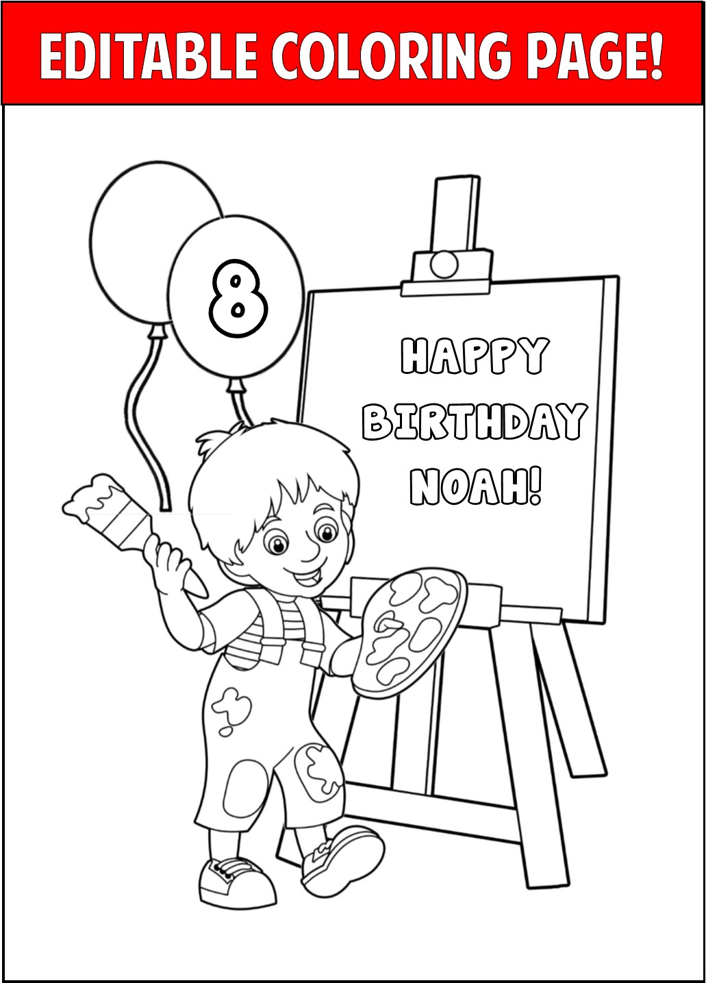 Get Your Party Started With These Adorable Personalized Coloring Pages Perfect For Those Young And At Heart Childs Art