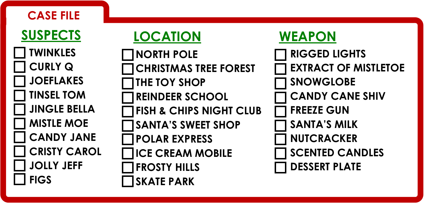 Clued-In Murder Mystery Christmas Scavenger Hunt -Printable Party Game!