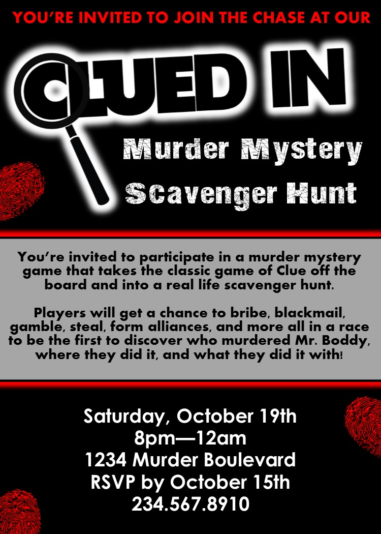 clued-in murder mystery scavenger hunt - printable party game