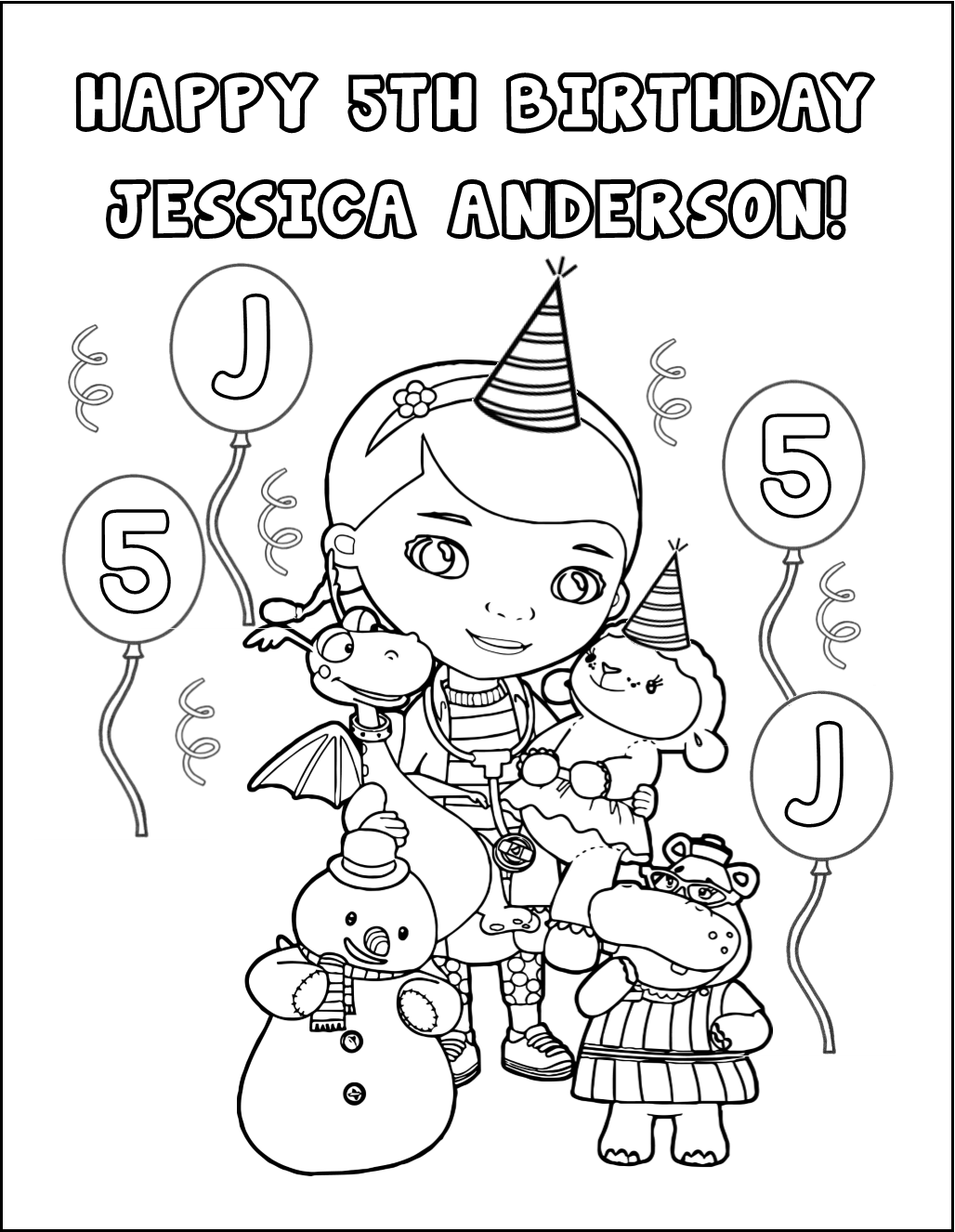 Our Personalized Coloring Page Is A Great Icebreaker And Fun Activity For Your Doc McStuffins Birthday
