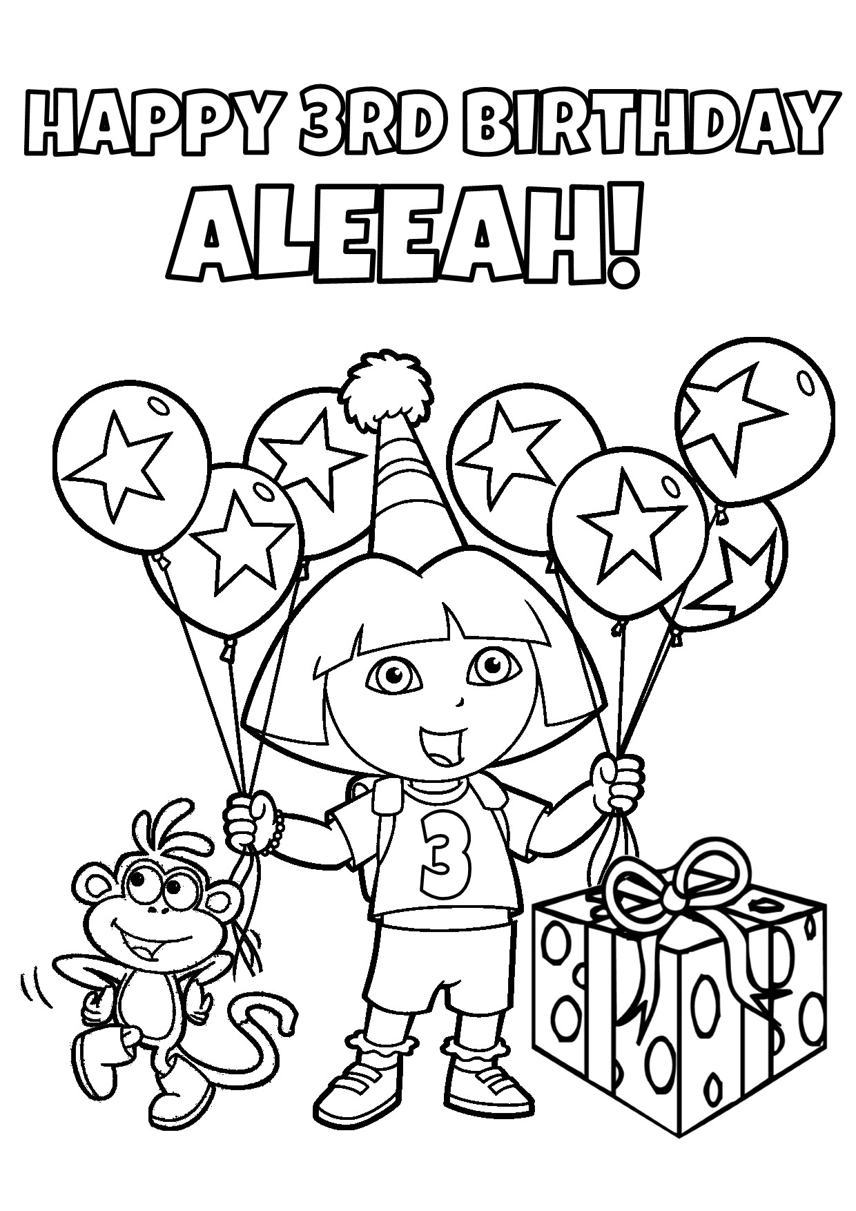Printable dora birthday party supplies for Dora the explorer coloring pages printable