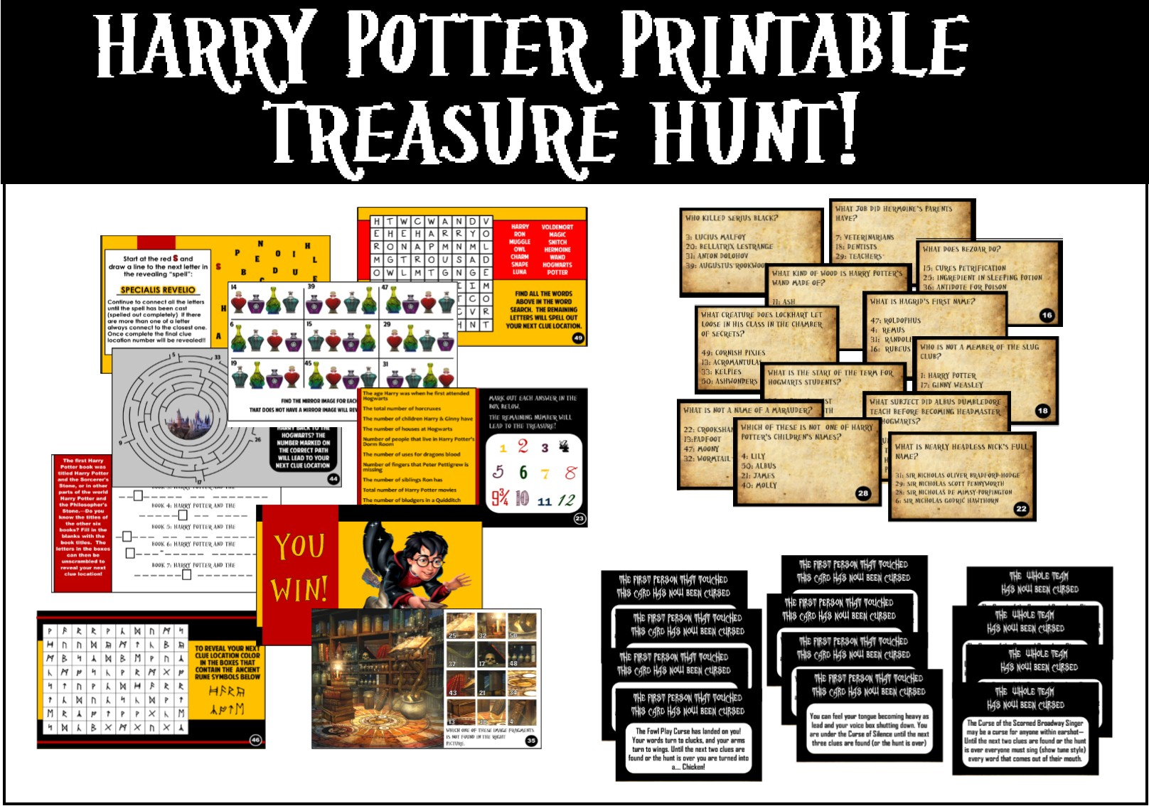 printable harry potter trivia treasure hunt
