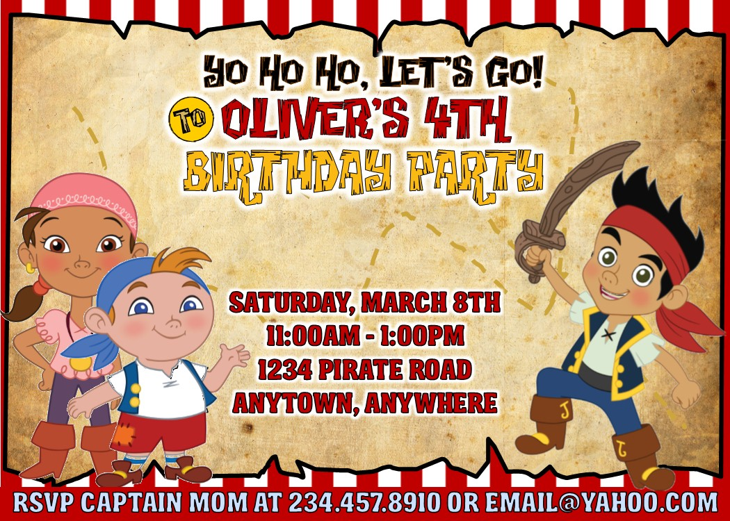 Jake and the Neverland Pirates Party Games, Invitations and More!