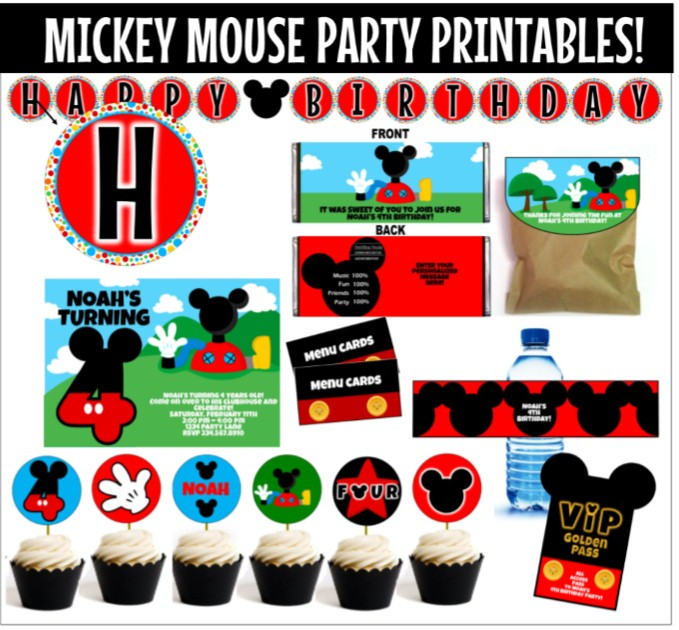 Mickey Mouse Clubhouse Party Printables INSTANT DOWNLOAD