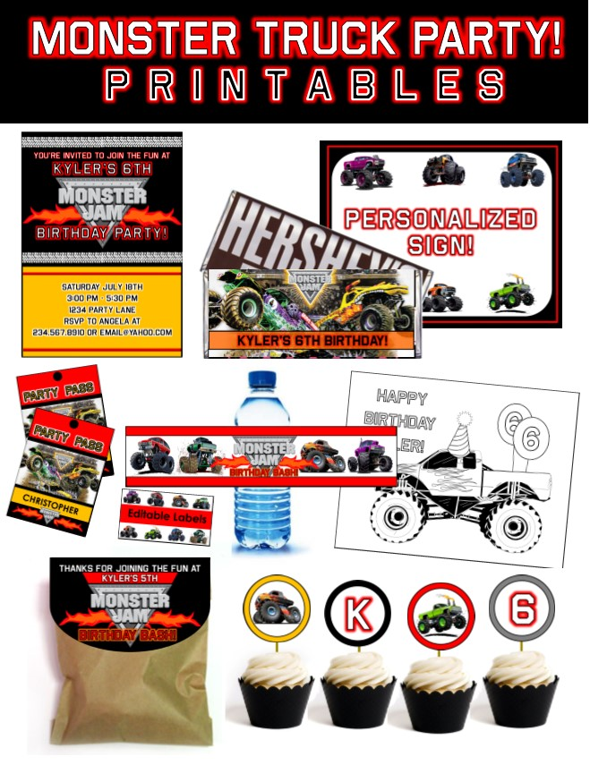 top 10 monster truck party games, Party invitations