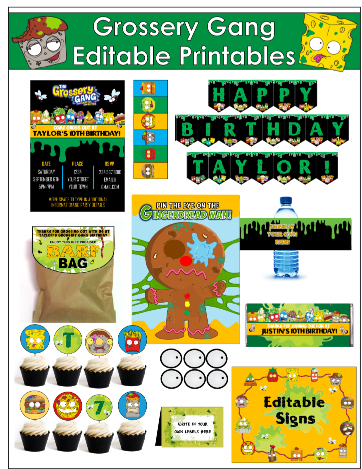 Totally Gross Party Games Printables and Party Supplies – Fear Factor Party Invitations