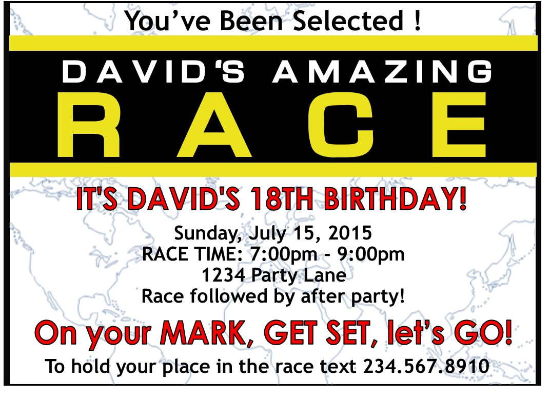 amazing race party supplies and invitations With amazing race birthday party templates
