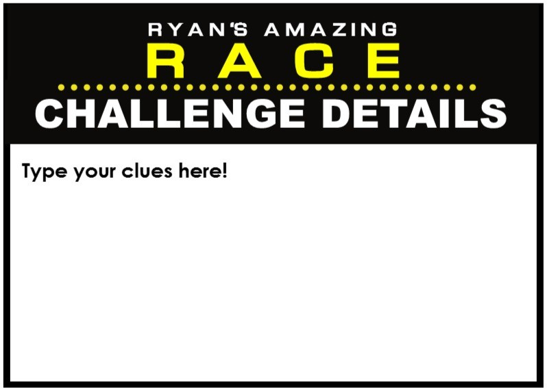 the amazing race clue template - amazing race party supplies and invitations