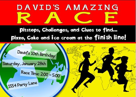 Amazing Race Party Invitations