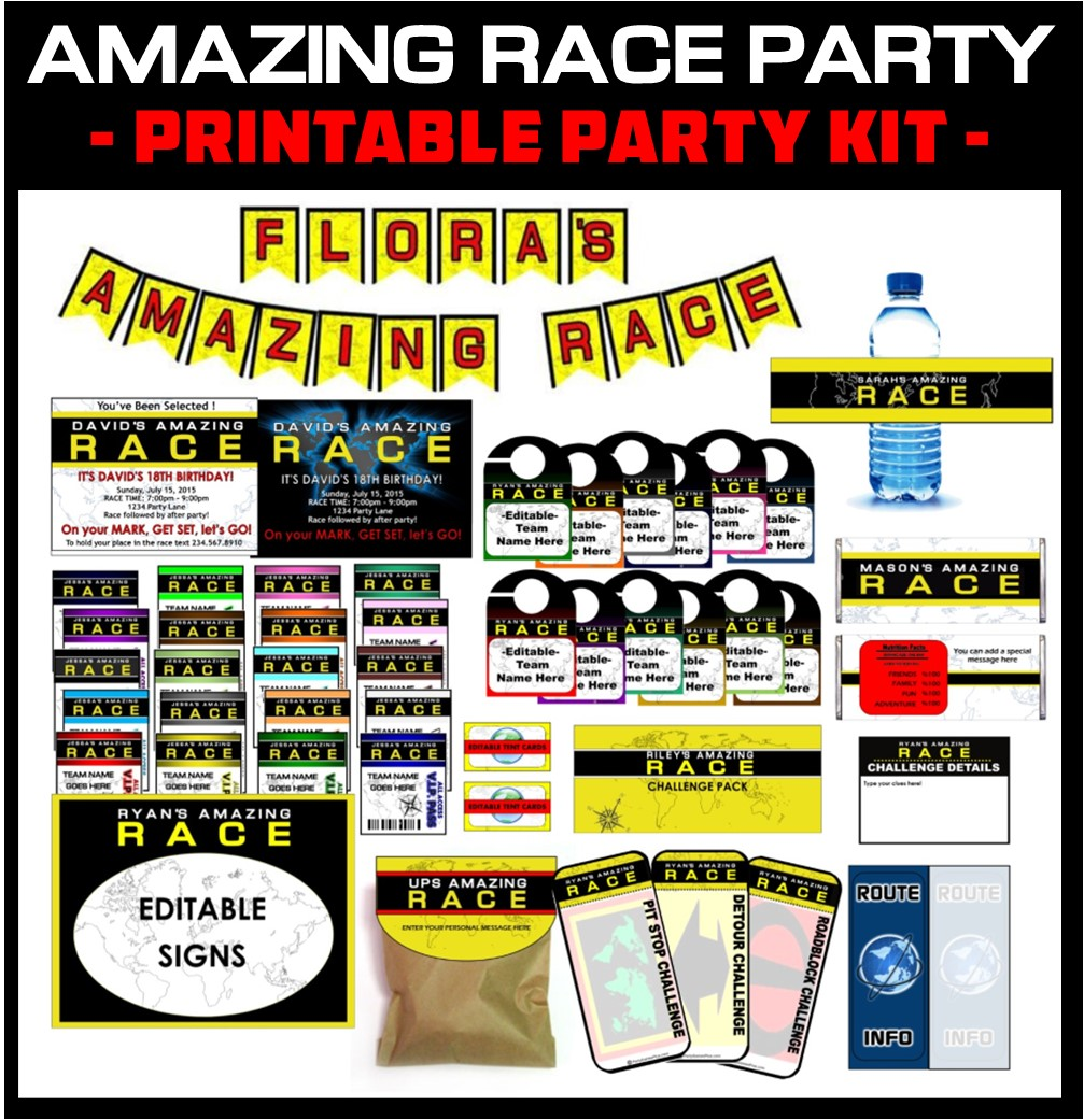 Personalized Amazing Race party kit!