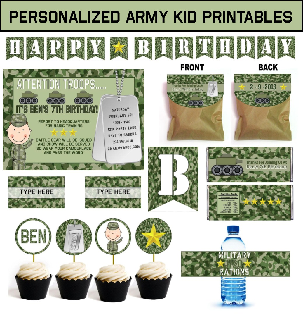 Army party games and ideas plus printable military party for Army theme party decoration ideas