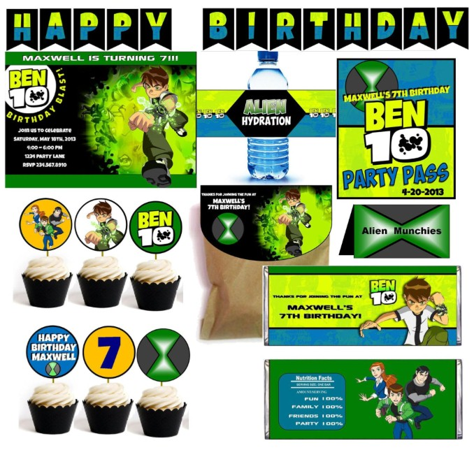 ben 10 party games printable supplies
