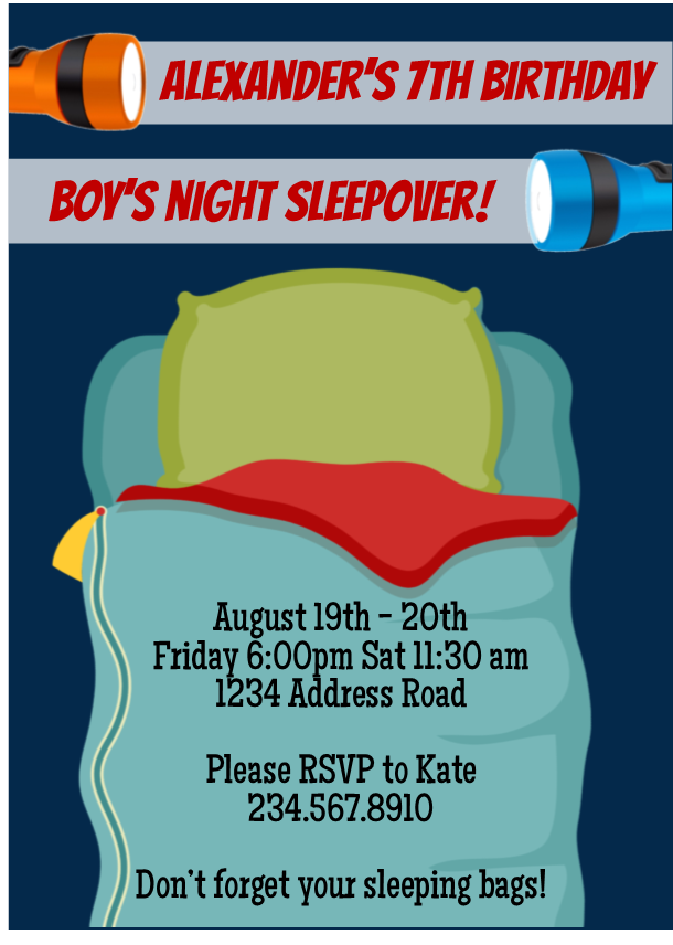 Choose Your Boys Sleepover Invitation
