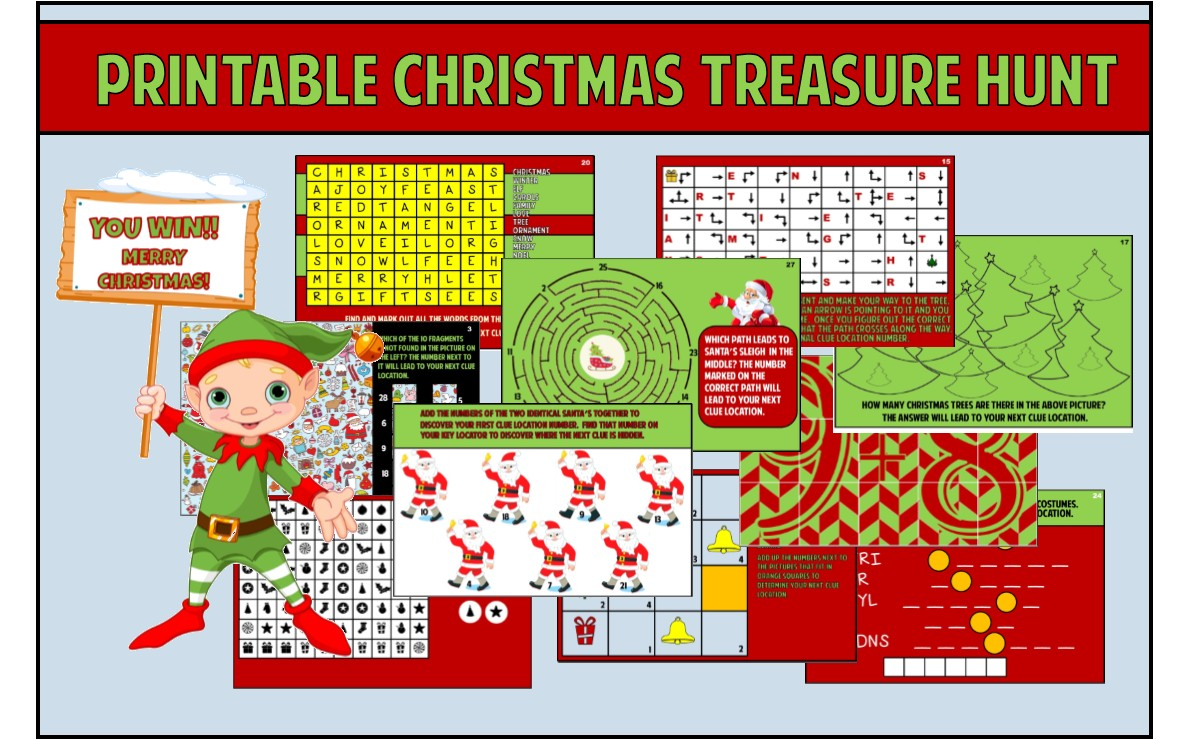 graphic about Christmas Scavenger Hunt Printable Clues known as Little ones Xmas Treasure Hunt Celebration Video game ~ Printable