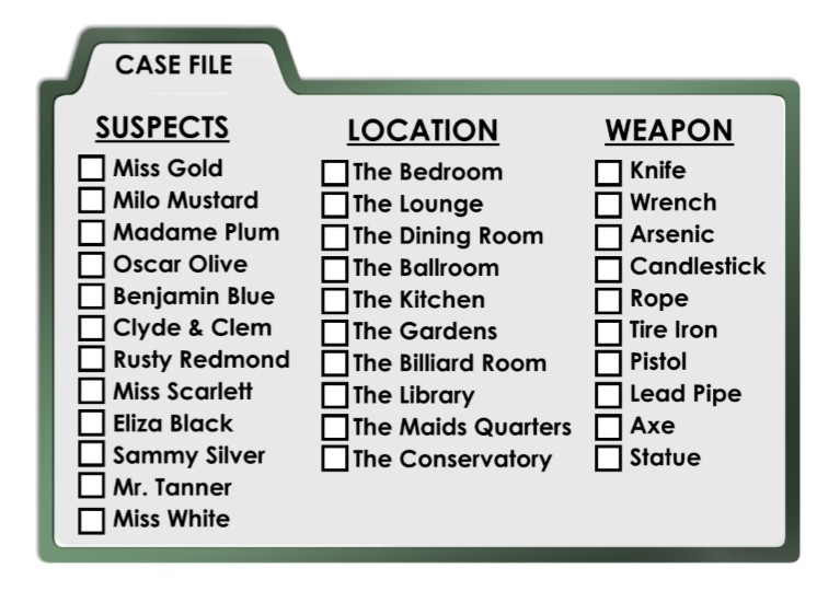 image regarding Clue Cards Printable referred to as Clued-Within Murder Solution Scavenger Hunt - Printable Celebration