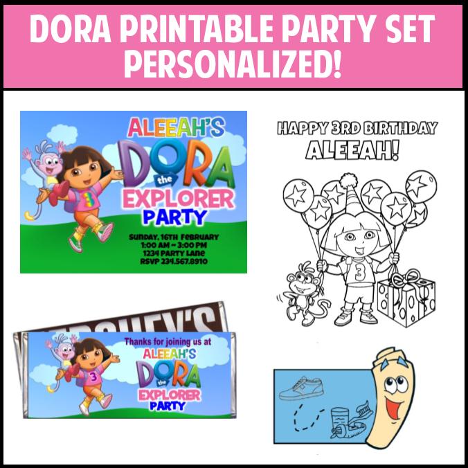 Printable dora birthday party supplies
