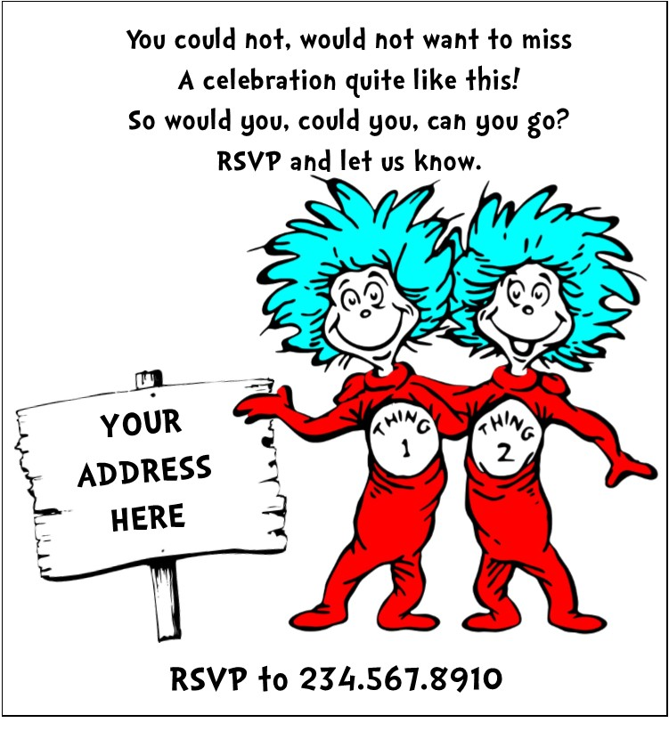 Dr Seuss Personalized Birthday Invitations with beautiful invitations design