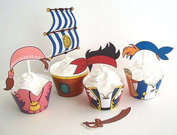 Pirate Party Decorations on Printable Pirate Themed Cupcake Wrappers And Toppers  They Include
