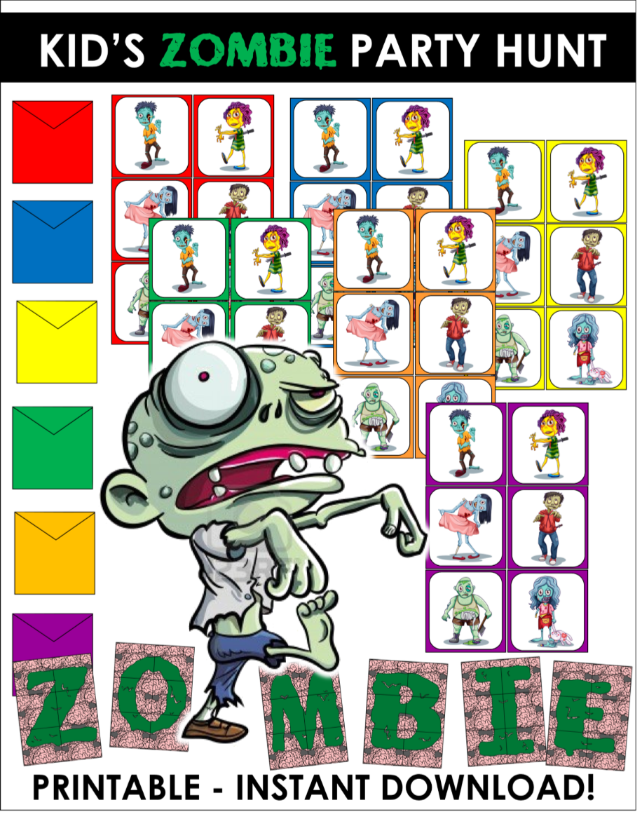 photo regarding Printable Scavenger Hunt for Kids identify Zombie Get together Match for youngsters - printable scavenger hunt
