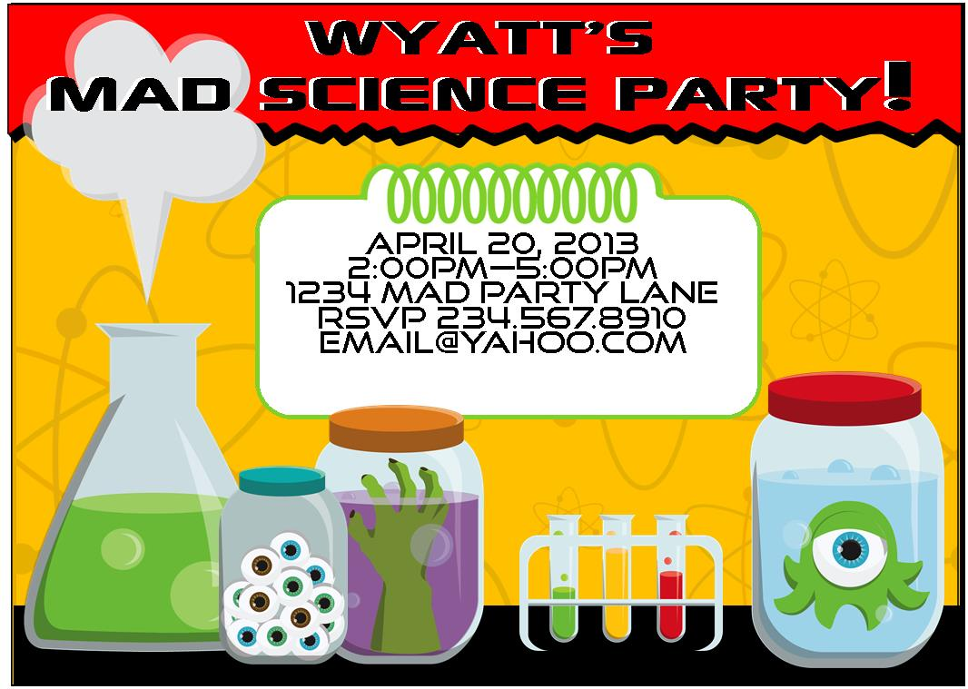 Mad Science Party Games Ideas Invitations And Party