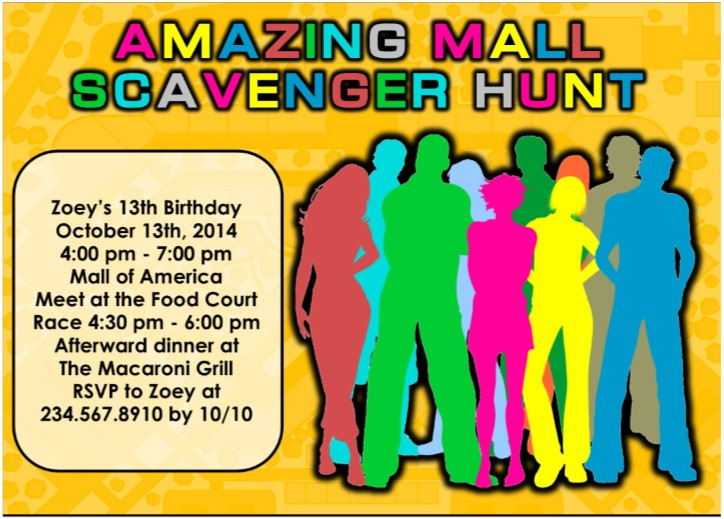 Printable Mall Scavenger Hunt Party Kit – Treasure Hunt Party Invitations