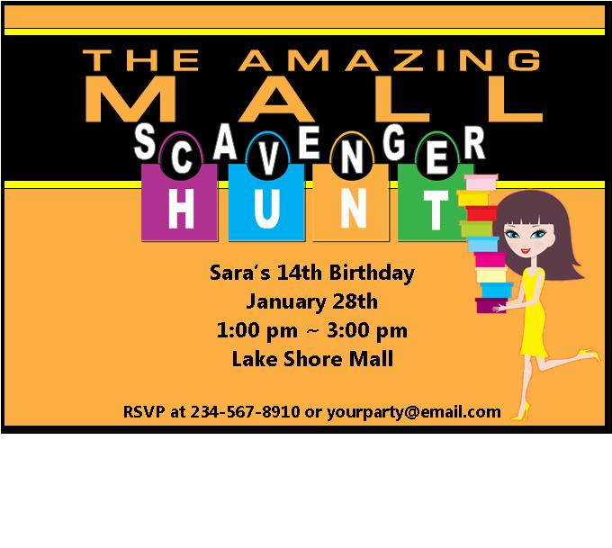 Mall scavenger hunt template the amazing mall scavenger hunt party kit includes filmwisefo