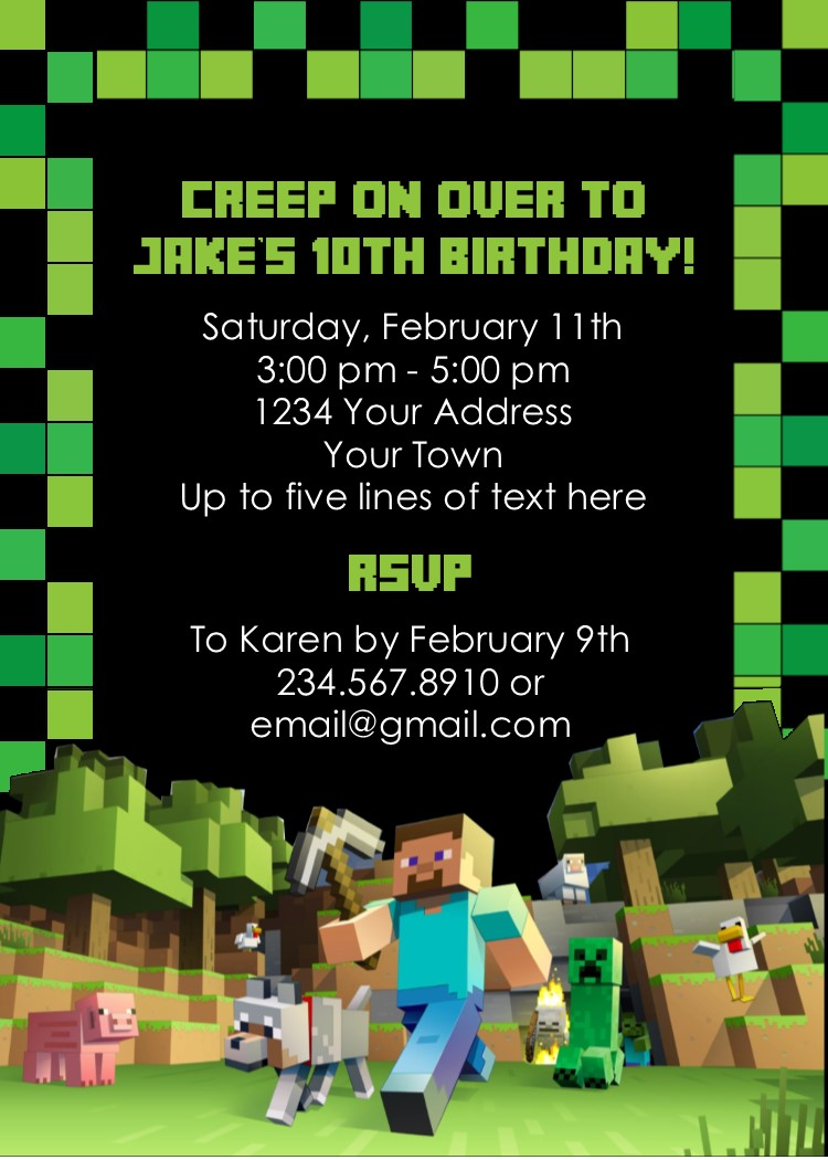 EDITABLE MINECRAFT PARTY INVITATIONS