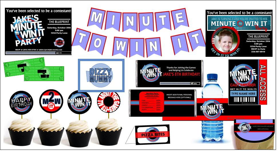 Printable Minute to Win It Party Supplies! Personalized!