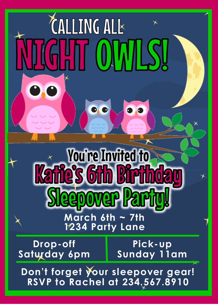 Night Owl Sleepover Invitation