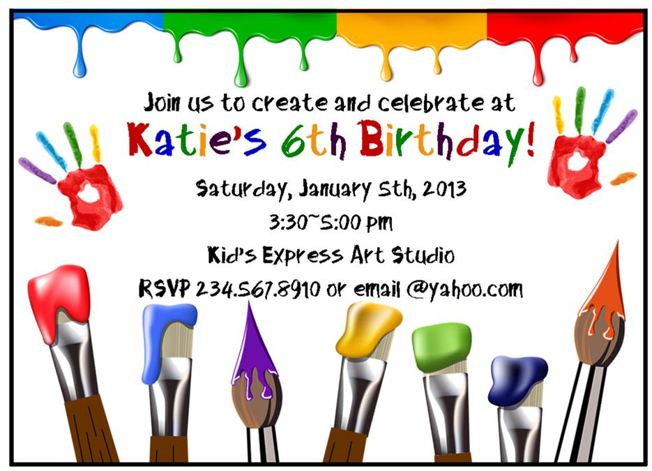 This is a photo of Comprehensive Free Printable Paint Party Invitations