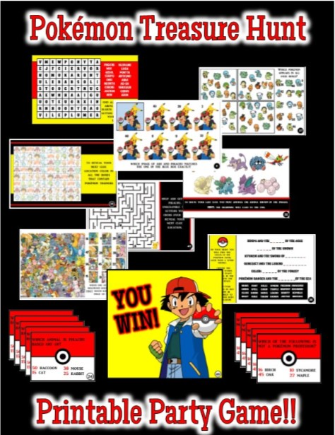 Transformative image within printable pokemon party games