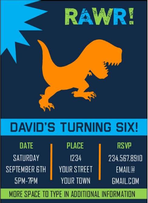 Printable Dinosaur Party Invitations INSTANT DOWNLOAD