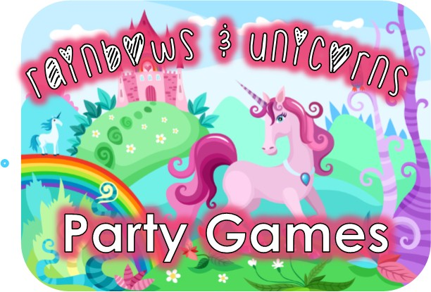 Rainbow and Unicorn Party Game Ideas: www.queen-of-theme-party-games.com/unicorn-party.html
