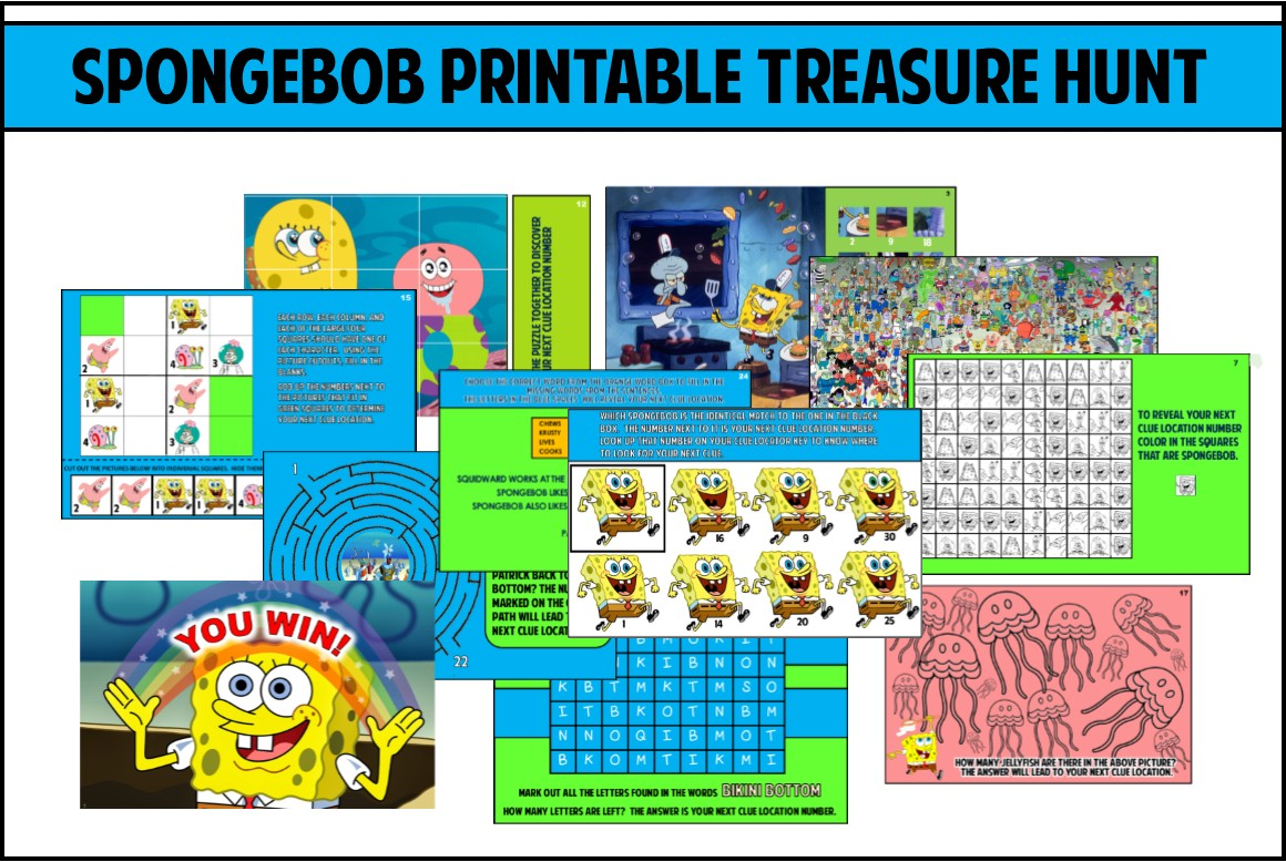 Spongebob Party Games Printable Treasure Hunt