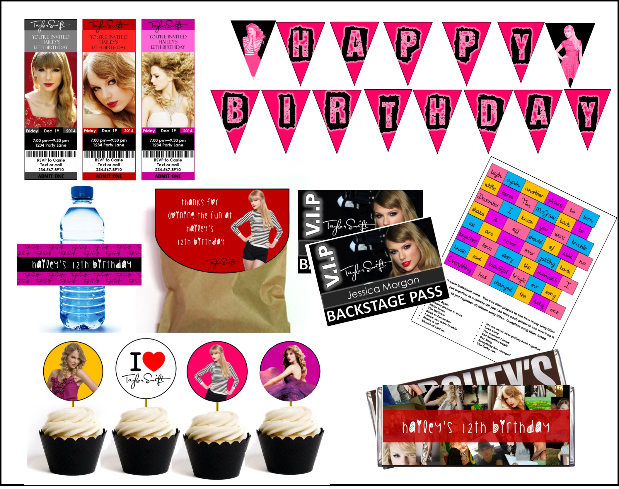 Diy taylor swift party games printables see more teen themes filmwisefo