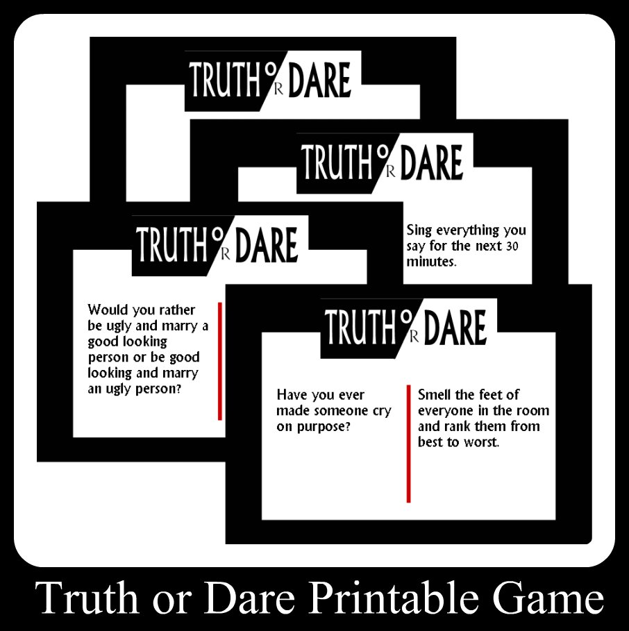 photo regarding Would You Rather Cards Printable titled Truth of the matter Or Dare Printable Match Playing cards
