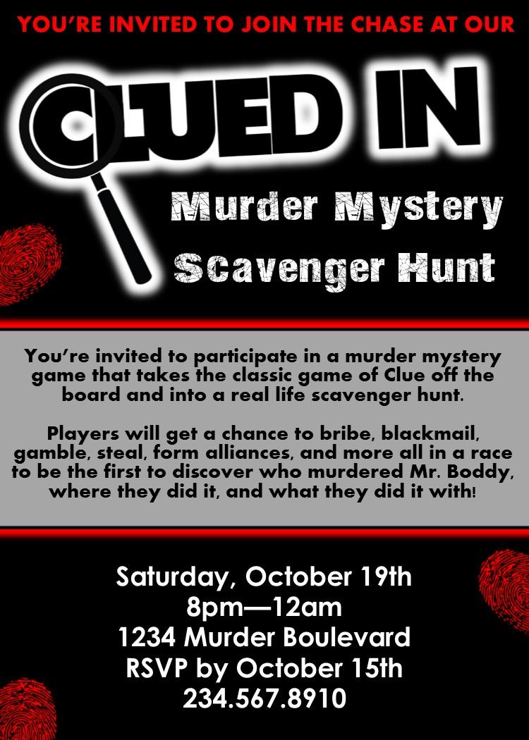 Clued In Murder Mystery Scavenger Hunt