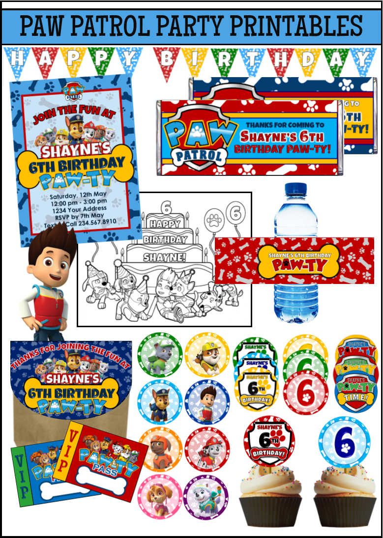 This Printable Paw Patrol Party Supplies Kit Includes