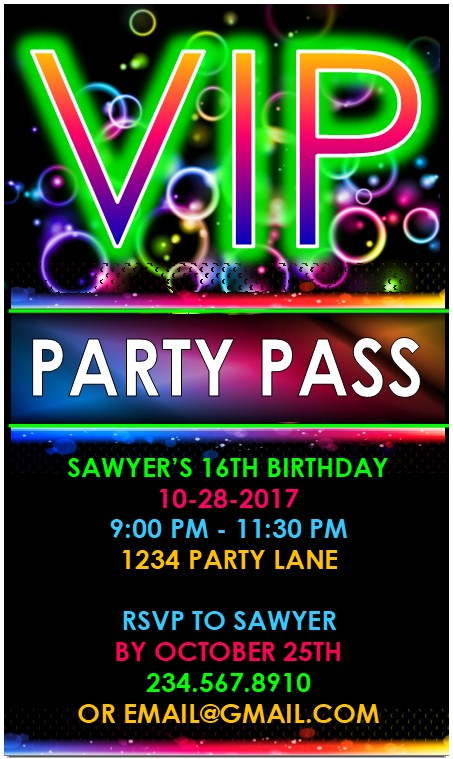 VIP Glow Party Invitations - printable and editable