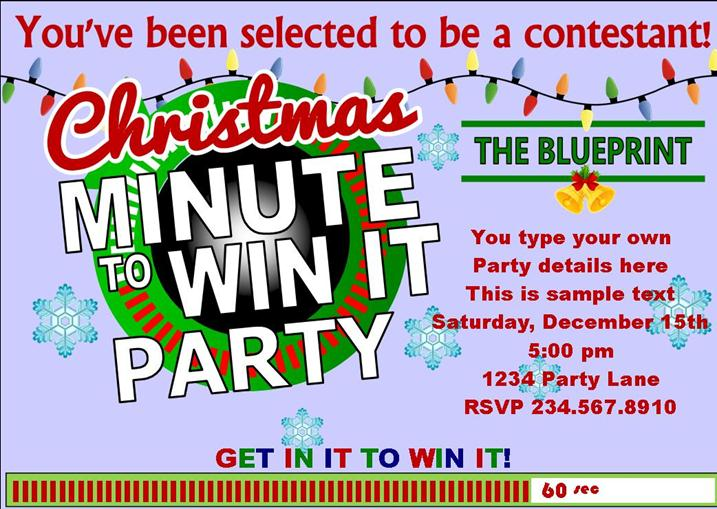 Christmas Minute to Win It party invitation.  This printable invitation is editable so all you ahve to do is type in your party details, print, and deliver!