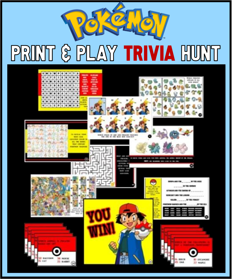 Printable Pokemon Trivia Treasure Hunt Game